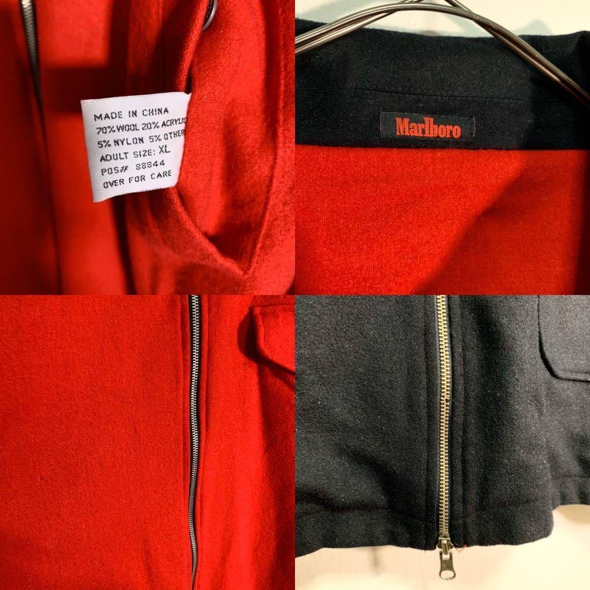 【送料込】90s Marlboro リバーシブル ウール ジャケット XL 黒×赤 ビッグシルエット ジップ マルボロ 80s ビンテージ 古着 オールド_画像5