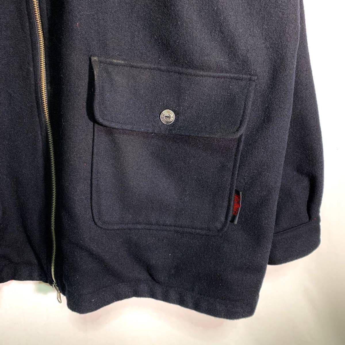 【送料込】90s Marlboro リバーシブル ウール ジャケット XL 黒×赤 ビッグシルエット ジップ マルボロ 80s ビンテージ 古着 オールド_画像3