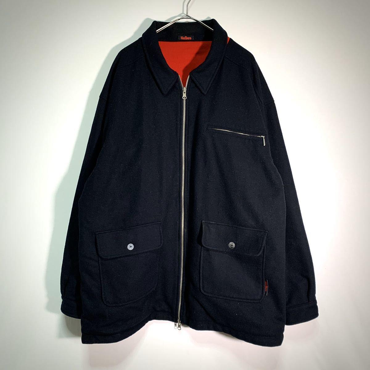 【送料込】90s Marlboro リバーシブル ウール ジャケット XL 黒×赤 ビッグシルエット ジップ マルボロ 80s ビンテージ 古着 オールド_画像9