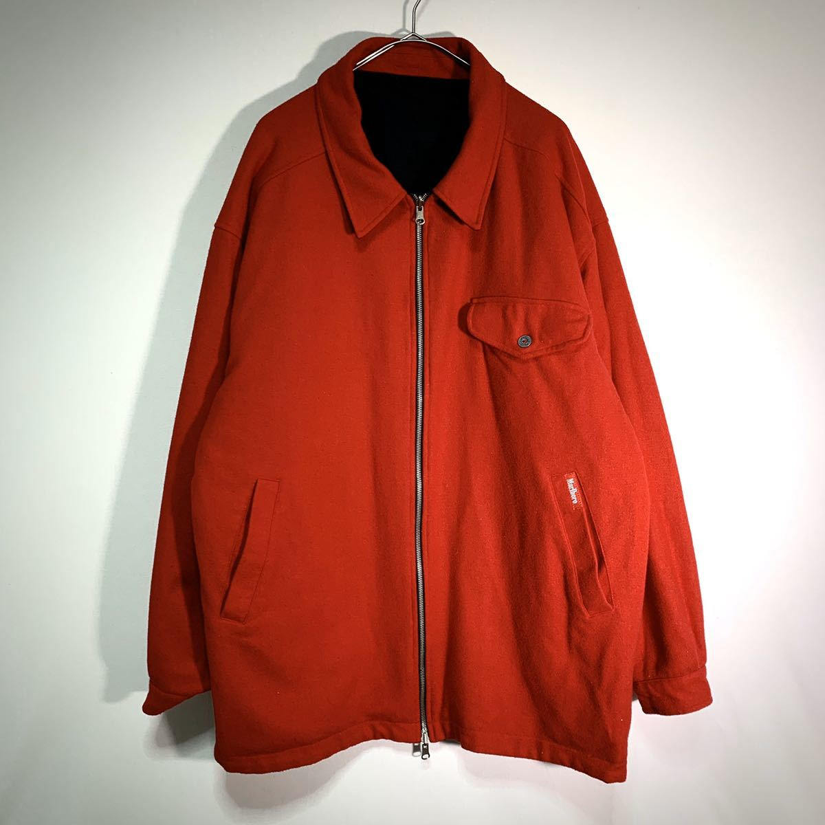 【送料込】90s Marlboro リバーシブル ウール ジャケット XL 黒×赤 ビッグシルエット ジップ マルボロ 80s ビンテージ 古着 オールド_画像10
