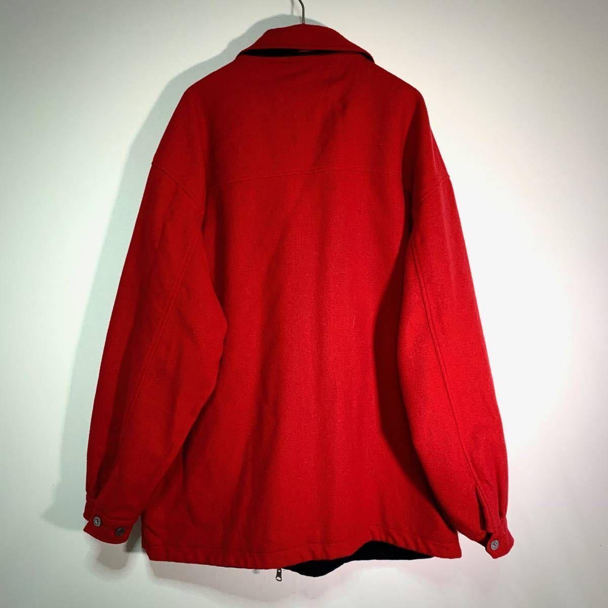 【送料込】90s Marlboro リバーシブル ウール ジャケット XL 黒×赤 ビッグシルエット ジップ マルボロ 80s ビンテージ 古着 オールド_画像8