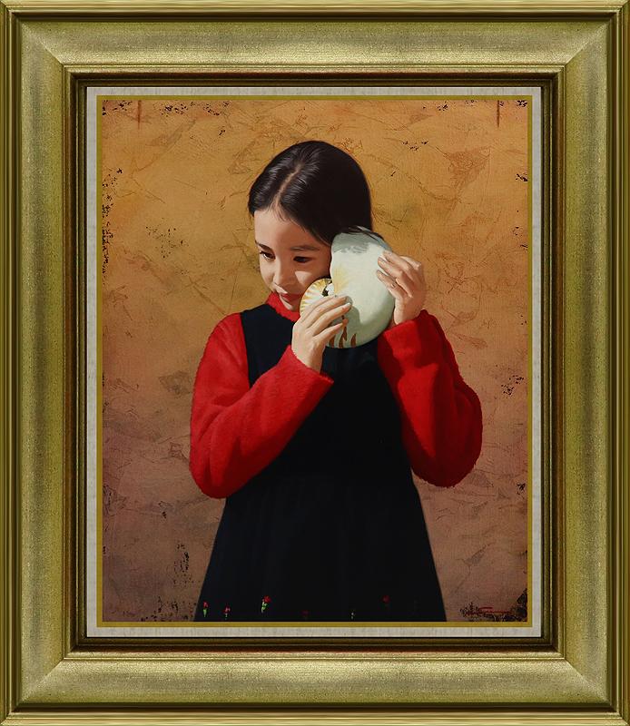 真作保証 清水悦男8号少女 日本橋三越個展開催記念 精緻リアリズム最高傑作 見よ!可愛い花柄を 情緒と瑞々しさに満ちた写実画家逸品