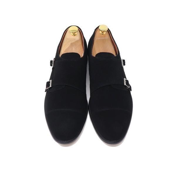 ハンドメイド 26.5cm 本革 スエード ダブル モンクストラップ メンズ ビジネス カジュアル マッケイ製法 靴 紳士靴 ブラック S3005_画像3
