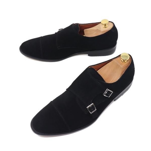 ハンドメイド 26.5cm 本革 スエード ダブル モンクストラップ メンズ ビジネス カジュアル マッケイ製法 靴 紳士靴 ブラック S3005_画像2