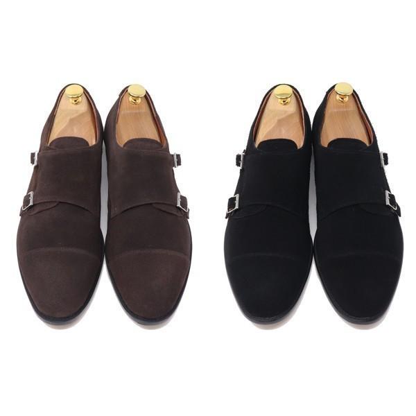 ハンドメイド 26.5cm 本革 スエード ダブル モンクストラップ メンズ ビジネス カジュアル マッケイ製法 靴 紳士靴 ブラック S3005_画像4