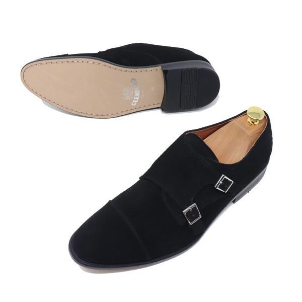 ハンドメイド 26.5cm 本革 スエード ダブル モンクストラップ メンズ ビジネス カジュアル マッケイ製法 靴 紳士靴 ブラック S3005_画像1