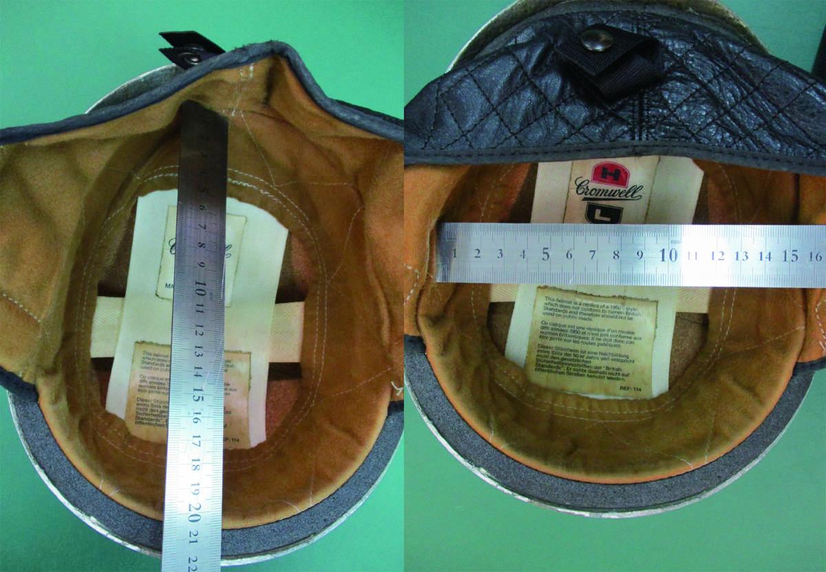 クロムウェル Cromwell  ビンテージ TT ハーフ ヘルメット (58-7 1/2) 半キャップ イギリス製 (検/ BSA ノートン ベスパ )_画像8