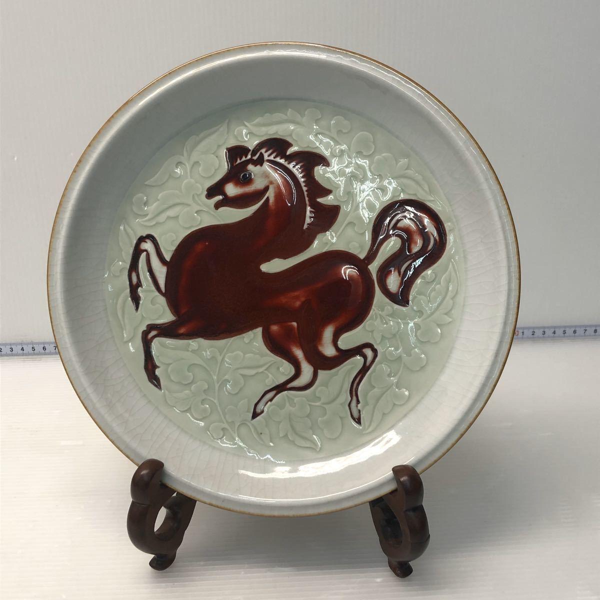 中國美術 景徳鎮 大皿 赤兎馬 赤馬 約28cm