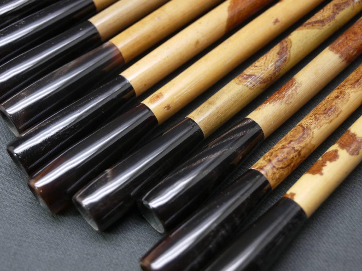 書道 筆 毛筆 斑竹 紅斑竹 水牛角 筆部品 柄 毛はありません 太筆 10本 筆の修理に 極上斑竹使用 矢立 香筒 楽器 製作にも _画像7