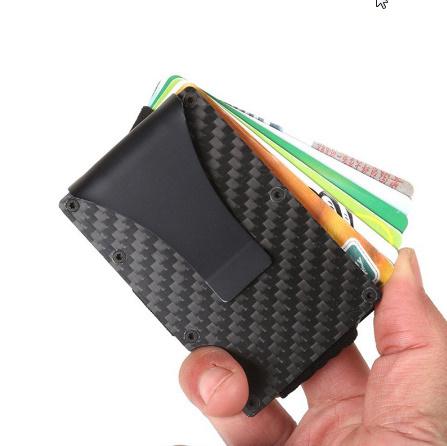 スリムカーボンファイバーマネークリップ ステンレス鋼 ID クレジットカードホルダー金属財布マネークリップ財布男性 k-1929_画像3