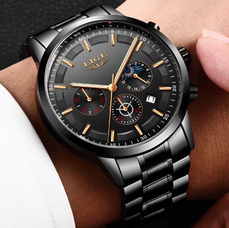 腕時計メンズ LIGE ファッションスポーツクォーツ時計メンズ腕時計トップブランドの高級ビジネス防水時計レロジオ Masculino k-2179_画像2