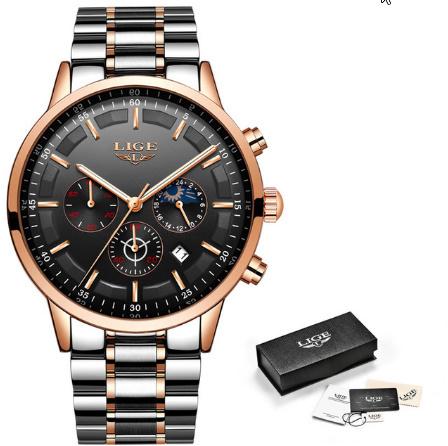 腕時計メンズ LIGE ファッションスポーツクォーツ時計メンズ腕時計トップブランドの高級ビジネス防水時計レロジオ Masculino k-2179_画像8