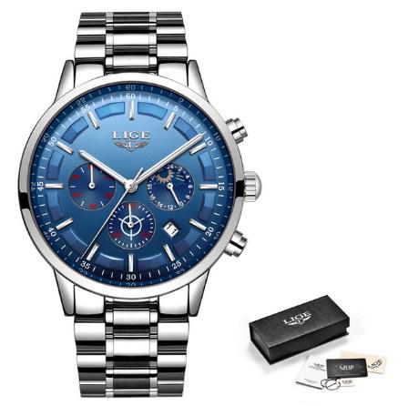 腕時計メンズ LIGE ファッションスポーツクォーツ時計メンズ腕時計トップブランドの高級ビジネス防水時計レロジオ Masculino k-2179_画像10