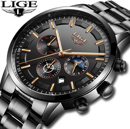 腕時計メンズ LIGE ファッションスポーツクォーツ時計メンズ腕時計トップブランドの高級ビジネス防水時計レロジオ Masculino k-2179_画像1