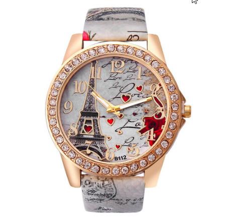 ヴィンテージ パリエッフェル塔 女性クォーツ腕時計 女の子 女性学生 カジュアル腕時計 k-2223_画像6