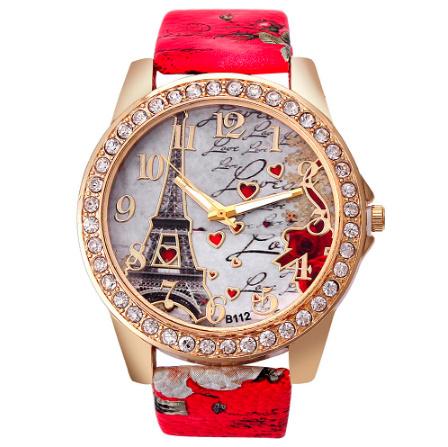 ヴィンテージ パリエッフェル塔 女性クォーツ腕時計 女の子 女性学生 カジュアル腕時計 k-2223_画像1