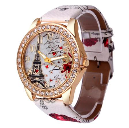 ヴィンテージ パリエッフェル塔 女性クォーツ腕時計 女の子 女性学生 カジュアル腕時計 k-2223_画像3