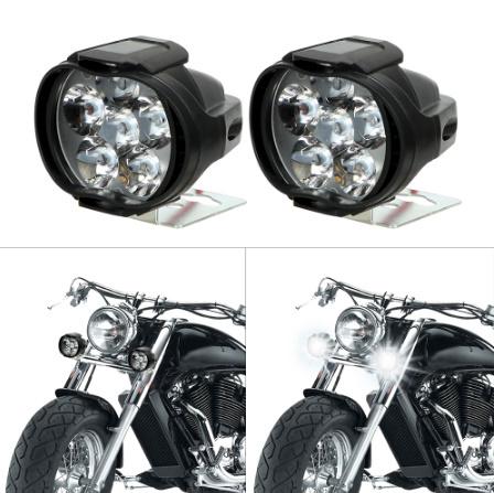 1 ペアオートバイヘッドライト 6500 18k ホワイト超高輝度 6 LED 作業スポットライトバイクフォグランプ 1200LM LED  k-2258_画像2