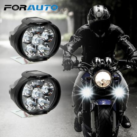 1 ペアオートバイヘッドライト 6500 18k ホワイト超高輝度 6 LED 作業スポットライトバイクフォグランプ 1200LM LED  k-2258_画像1