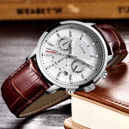 腕時計メンズファッションスポーツクォーツ 時計メンズブランド 高級レザービジネス防水時計 レロジオ Masculino k-2311_画像2