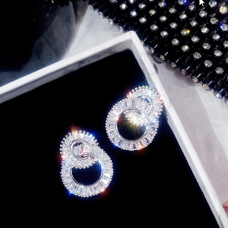 925 スターリングシルバー ラウンド かわいいブリンブリン ジルコン石 スタッド イヤリング女性 ファッションジュエリー k-2347_画像1