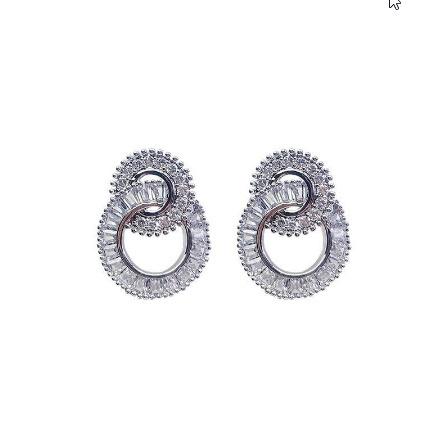 925 スターリングシルバー ラウンド かわいいブリンブリン ジルコン石 スタッド イヤリング女性 ファッションジュエリー k-2347_画像3