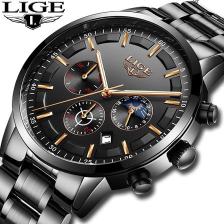 腕時計メンズ LIGE ファッションスポーツクォーツ時計メンズ腕時計トップブランドの高級ビジネス防水時計レロジオ Masculino k-2303_画像1