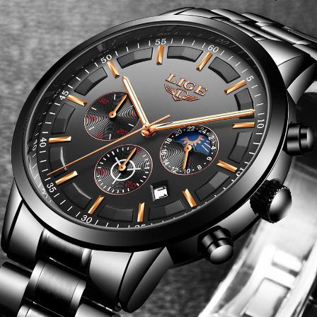 腕時計メンズ LIGE ファッションスポーツクォーツ時計メンズ腕時計トップブランドの高級ビジネス防水時計レロジオ Masculino k-2303_画像3