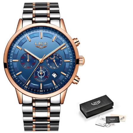 腕時計メンズ LIGE ファッションスポーツクォーツ時計メンズ腕時計トップブランドの高級ビジネス防水時計レロジオ Masculino k-2303_画像9