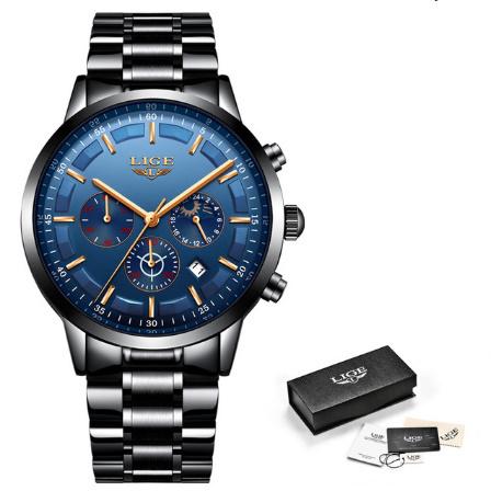 腕時計メンズ LIGE ファッションスポーツクォーツ時計メンズ腕時計トップブランドの高級ビジネス防水時計レロジオ Masculino k-2303_画像7