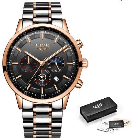 腕時計メンズ LIGE ファッションスポーツクォーツ時計メンズ腕時計トップブランドの高級ビジネス防水時計レロジオ Masculino k-2303_画像8