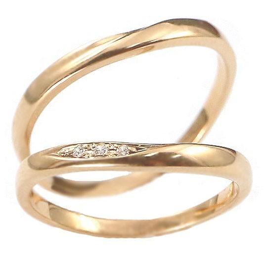 結婚指輪 安い ダイヤモンド ゴールド ペアリング 2本セット 18金 マリッジリング 地金 ピンクゴールドk18 18k シンプル ピンク 送料無料_画像8