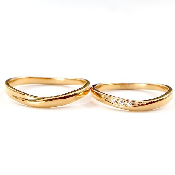結婚指輪 安い ダイヤモンド ゴールド ペアリング 2本セット 18金 マリッジリング 地金 ピンクゴールドk18 18k シンプル ピンク 送料無料_画像9