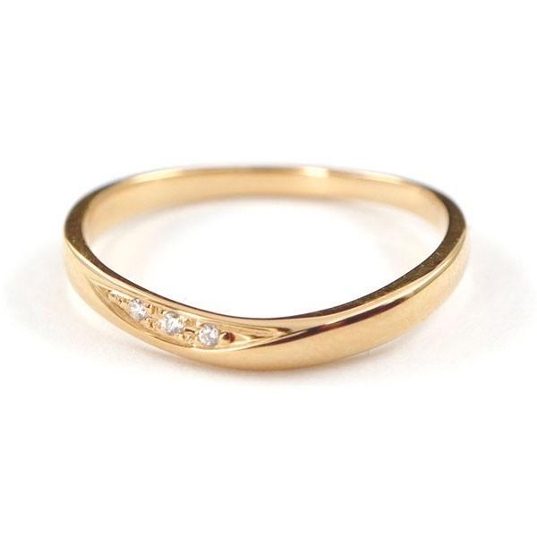 結婚指輪 安い ダイヤモンド ゴールド ペアリング 2本セット 18金 マリッジリング 地金 ピンクゴールドk18 18k シンプル ピンク 送料無料_画像2