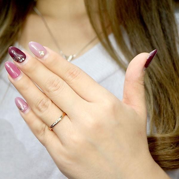 結婚指輪 安い ダイヤモンド ゴールド ペアリング 2本セット 18金 マリッジリング 地金 ピンクゴールドk18 18k シンプル ピンク 送料無料_画像6