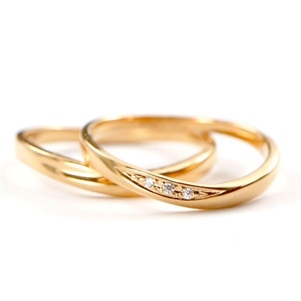 結婚指輪 安い ダイヤモンド ゴールド ペアリング 2本セット 18金 マリッジリング 地金 ピンクゴールドk18 18k シンプル ピンク 送料無料_画像1