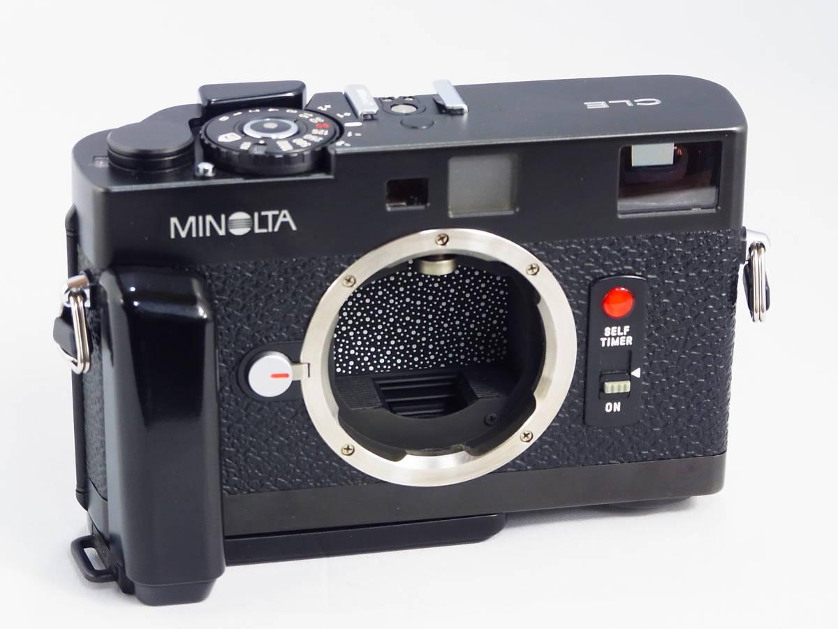 ★ 超美品 ★ ミノルタ Minolta CLE レンジファインダーカメラボディ 希少グリップ、新品同様専用ストロボ、元箱付き