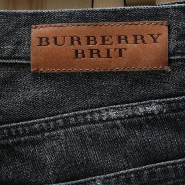 【美品】バーバリー ブリット BURBERRY BRIT ストレート ウォッシュド加工 デニム パンツ 32W34L ブラック メンズ br07003919_画像4