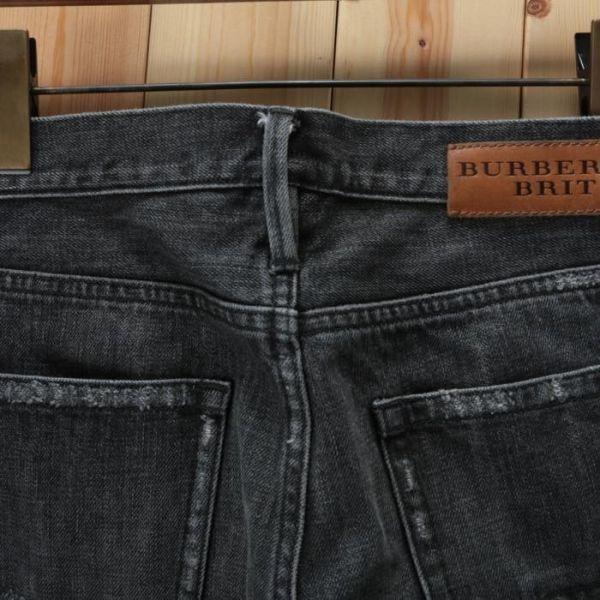 【美品】バーバリー ブリット BURBERRY BRIT ストレート ウォッシュド加工 デニム パンツ 32W34L ブラック メンズ br07003919_画像3
