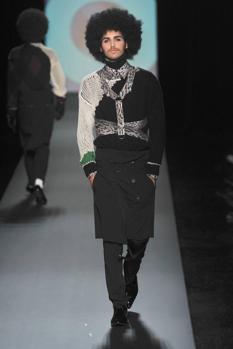 GAULTIER2 ボタン&ハーネス付きウールスカート Size44 Italy 黒 ジャンポールゴルチエ Jean Paul GAULTIER イタリア製 2009年秋冬 AEFFE