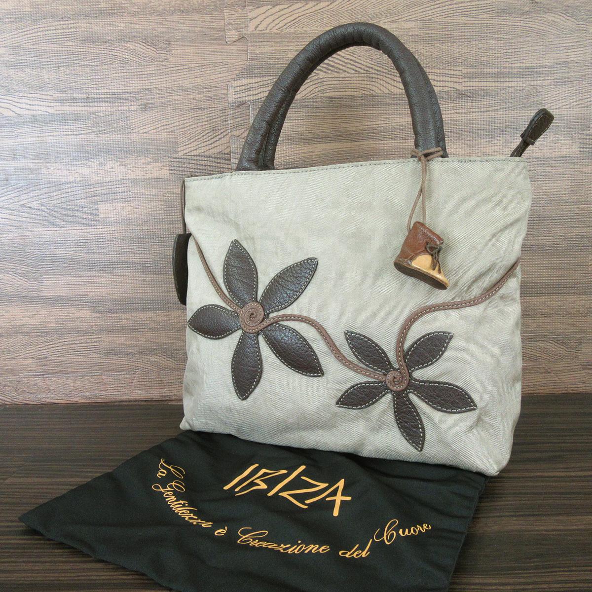 IBIZA イビザ ナイロン×レザー フラワーワッペン ハンドバッグ 保存袋 ブラウン×ベージュ系 東KK