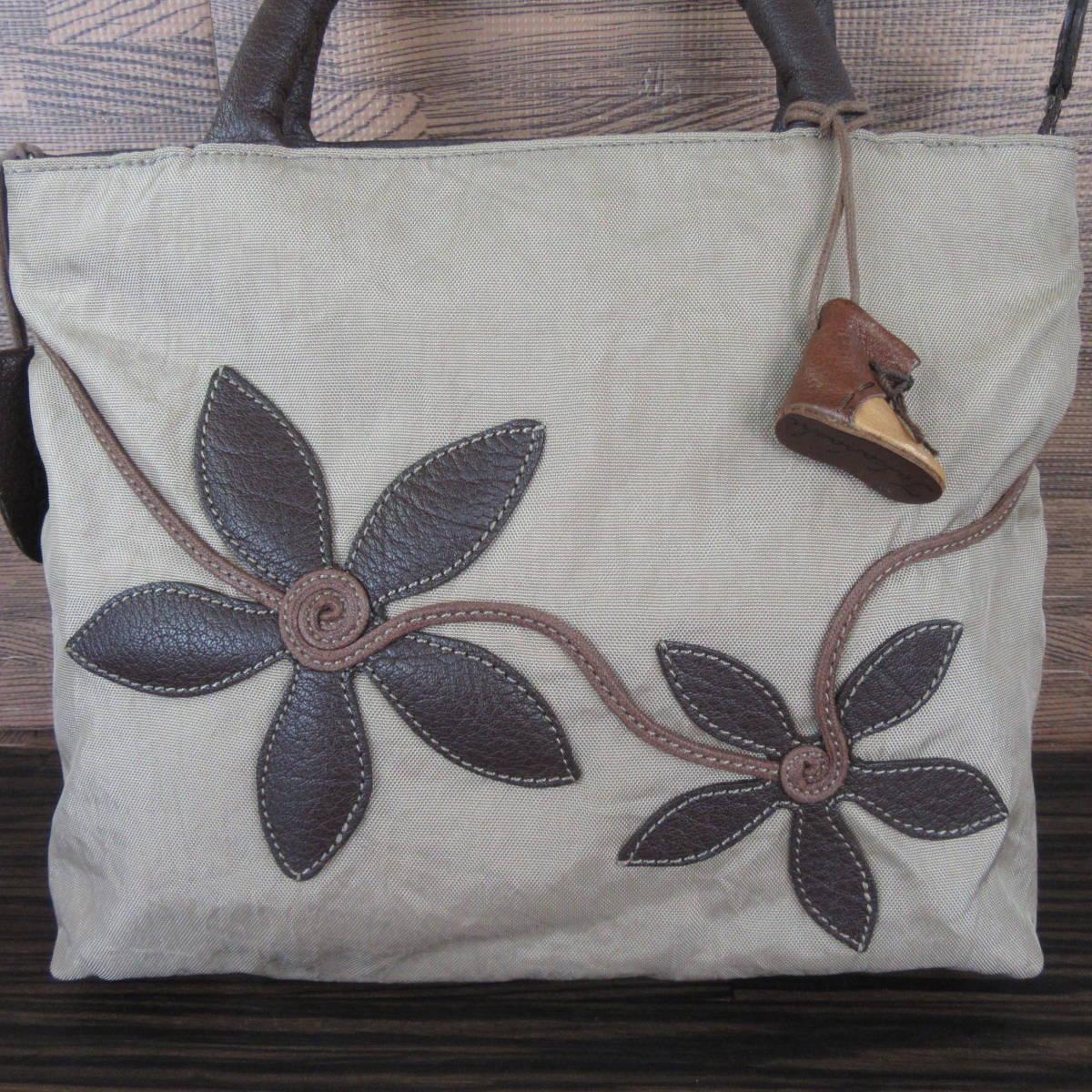 IBIZA イビザ ナイロン×レザー フラワーワッペン ハンドバッグ 保存袋 ブラウン×ベージュ系 東KK_画像2