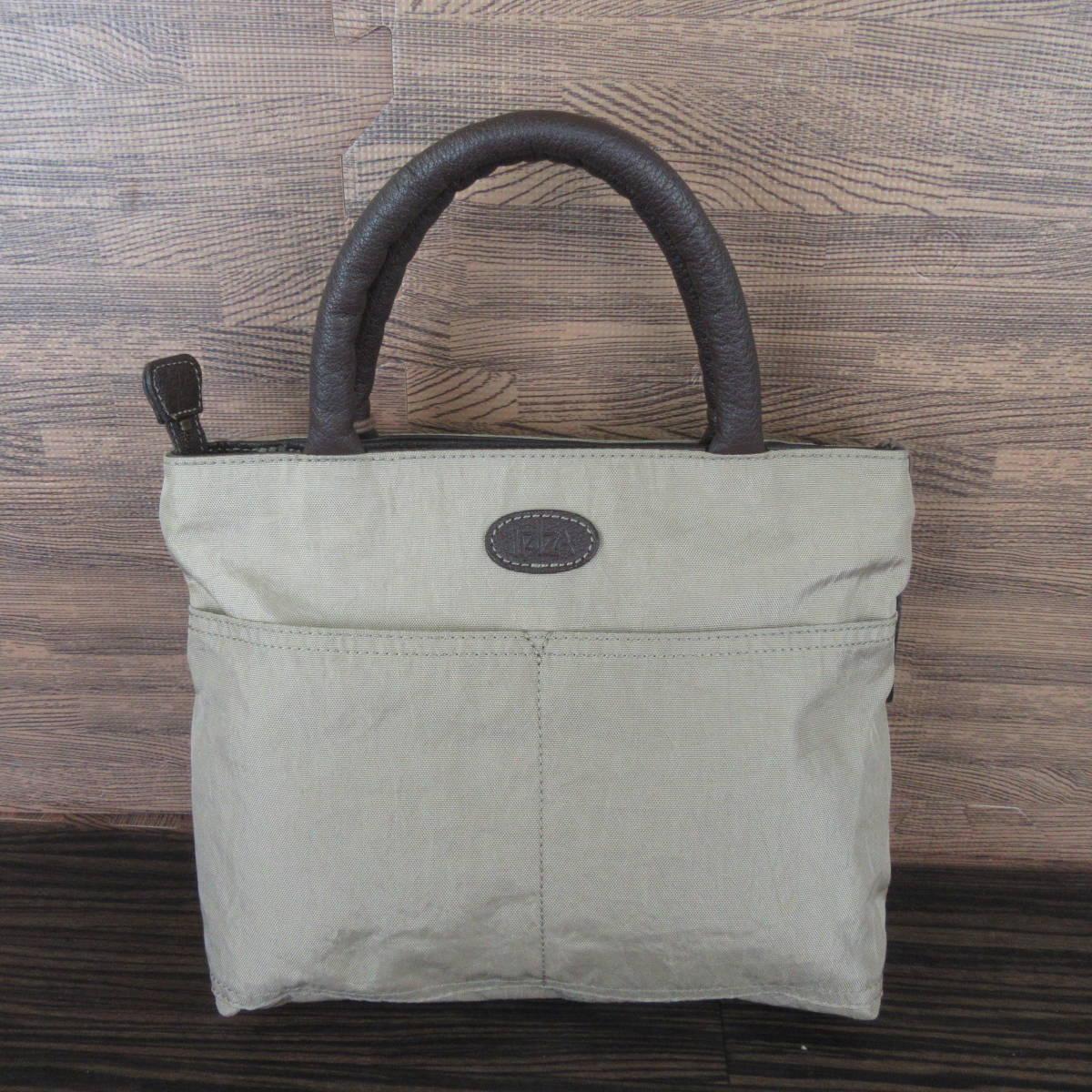 IBIZA イビザ ナイロン×レザー フラワーワッペン ハンドバッグ 保存袋 ブラウン×ベージュ系 東KK_画像3