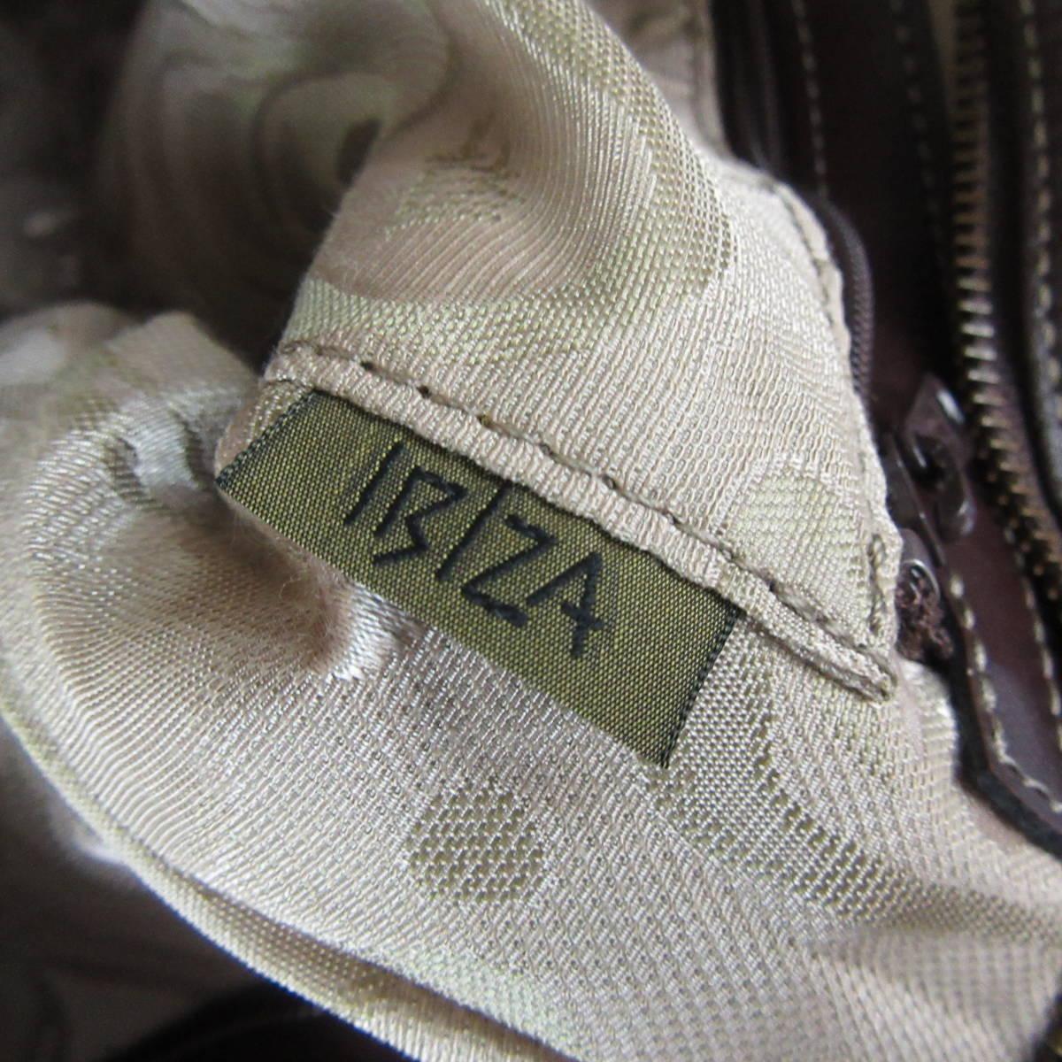 IBIZA イビザ ナイロン×レザー フラワーワッペン ハンドバッグ 保存袋 ブラウン×ベージュ系 東KK_画像5