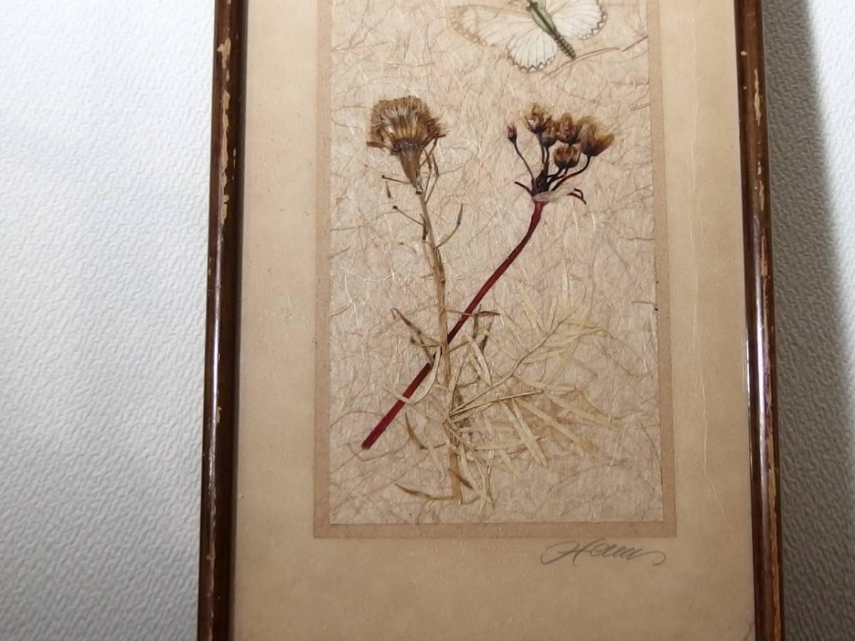 フランスアンティーク 壁飾り 額 フレーム コラージュアート 額縁 押し花 蝶 標本 絵画 コラージュアート_画像2