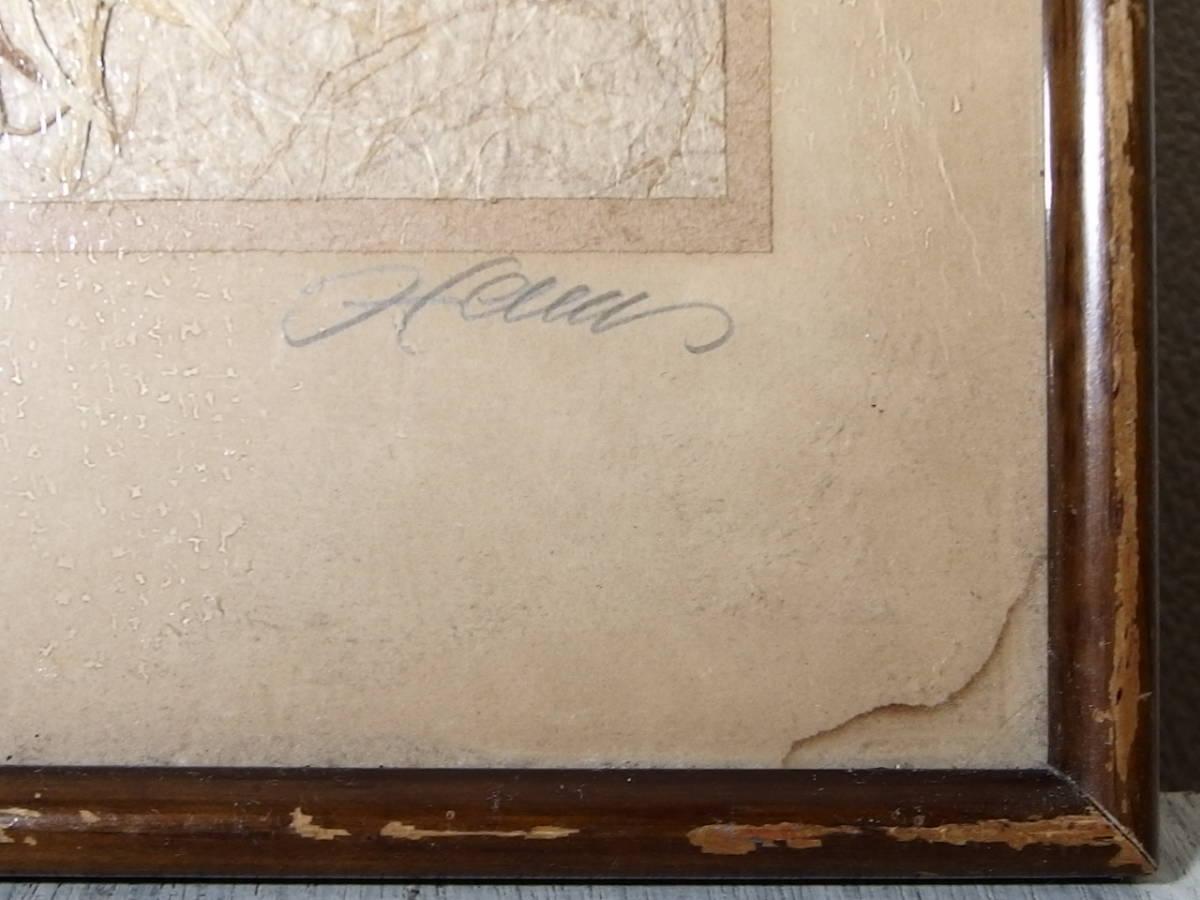 フランスアンティーク 壁飾り 額 フレーム コラージュアート 額縁 押し花 蝶 標本 絵画 コラージュアート_画像8