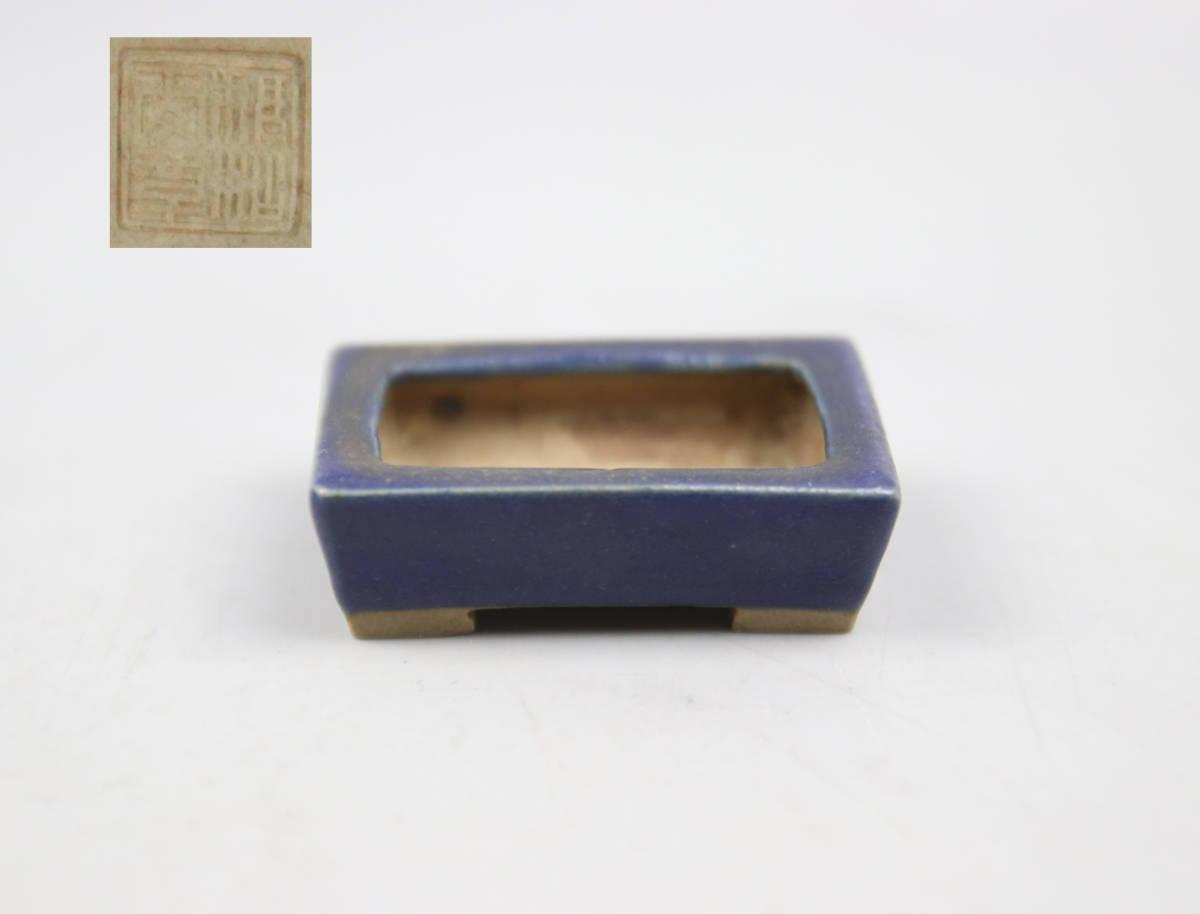 0037 同一コレクターの収集品 小品小鉢-9 藍釉長方形朱泥鉢 「稚松愛草」盆栽 豆鉢