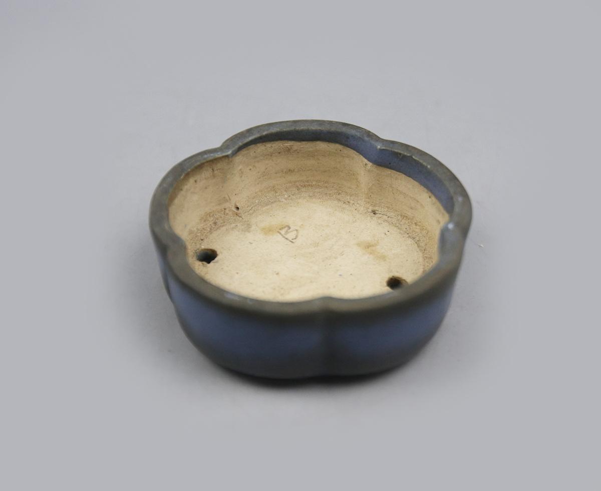 0050 同一コレクターの収集品 小品 中国 鉢-3 希少 梅形天藍釉白泥鉢 中国宜興 朱泥 紫砂 盆栽