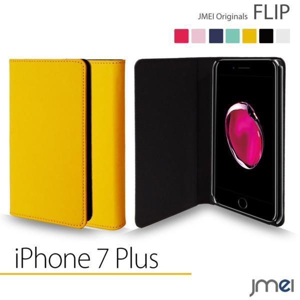 iPhone 7 Plus 7 プラス apple JMEI フリップケース イエロー F_画像1