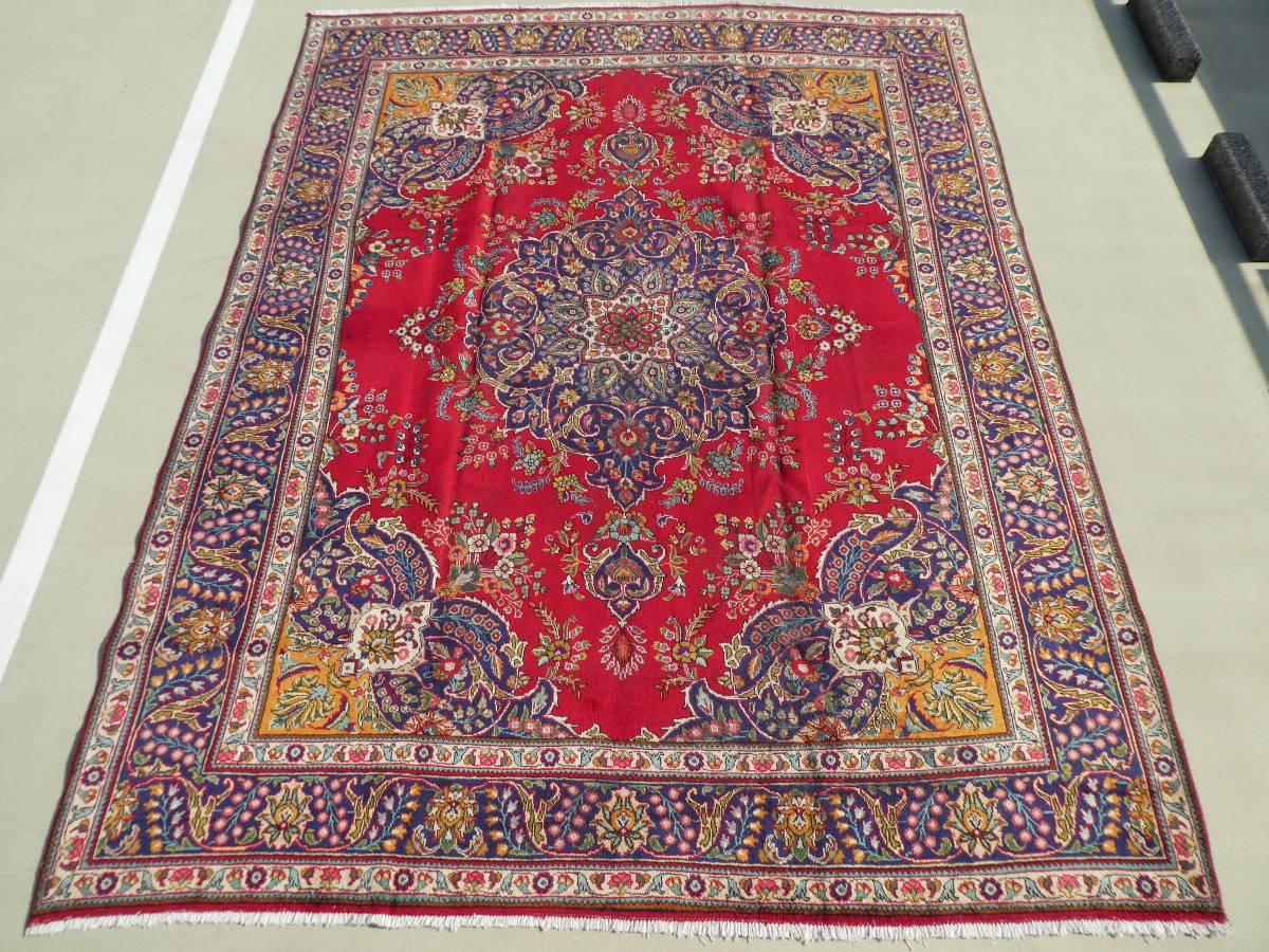◆ペルシャ絨毯◆大判◆イラン産◆手織り◆390×299cm ギャッベ◆アンティーク ラグ◆カーペット◆直輸入◆る